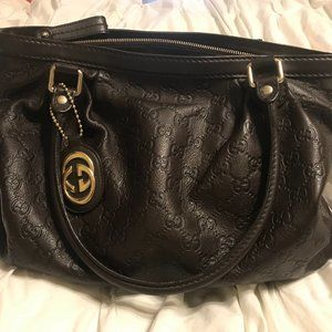 Vintage Gucci Hobo Handbag - Dark Brown Leather